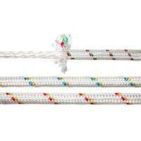 Шкот из полиэстера «Sebino». Диаметр: 8 мм. Цвет: белый с двумя (желтой и красной) маркирующими нитями.