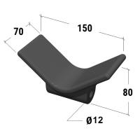 Упор подкильный 140мм, черный пластик С11303B
